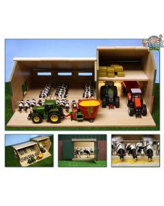 KIDS GLOBE FARMING houten stal met loods voor 1 : 32