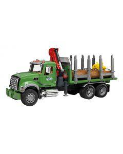 Bruder 2824 MACK Granite houttransportwagen met kraan en 3 boomstammen