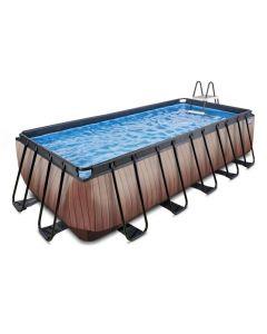 Wood zwembad 540x250x122cm met zandfilterpomp - bruin