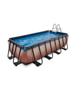 Wood zwembad 400x200x100cm met pomp Bruin