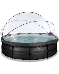 Black Leather zwembad ø488x122cm met overkapping en zandfilter- en warmtepomp - zwart