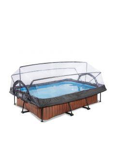 Wood zwembad 300x200x65cm met overkapping en filterpomp - bruin