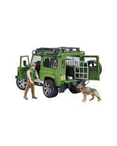 Bruder 2587 Land Rover Defender Station Wagon met boswachter en hond
