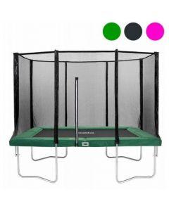 Rechthoekige trampoline 214x153 met veiligheidsnet Groen