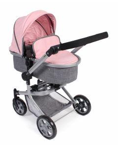 Poppenwagen Mika combi (lichtgrijs/roze)
