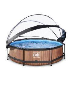 Wood zwembad ø360x76cm met overkapping en filterpomp - bruin