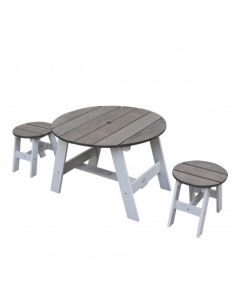 3-delige picknickset (grijs/wit)