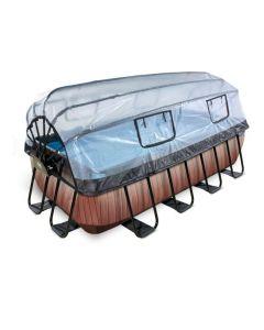 Wood zwembad 400x200x100cm met overkapping en Zandfilterpomp - bruin