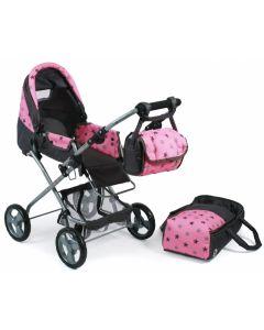 Poppenwagen Bambina (l.roze/grs/ster)